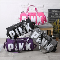 Wholesale Designers Travel Bags Wholesale - Pink Shoulder Bags Pink Letter Fitness Gym Handbags Travel Duffle Bags Secret VS Designer Beach Bag Fashion Totes Hot Shopping Bags B3324