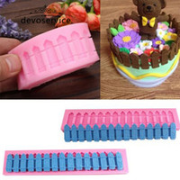 Wholesale 3d Silicone Cake Moulds - Wholesale- Garden Fences 3D Silicone Fondant Molds For Cake Decortion Chocolate Soap Mould Sugarcraft For Kitchen Baking Tools Bakeware
