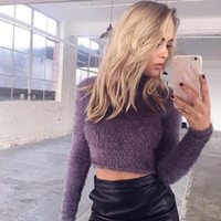 Wholesale Thick Wool Elastic - Autumn chic elastic knitted sweater Women long sleeve crop top basic pull femme Casual winter black pullover jumper