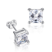 Wholesale Princess Square Cut Clear Diamond CZ Silver Stainless Steel Setting Stud Earrings Pair