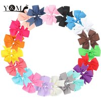 Wholesale Hair Clips Little Girl Ribbon - Wholesale- 20Pcs Ribbon Lovely Bowknot Hairclips Baby Girls Little Hair Clip Soild Bows Toddlers Accessories For Cute Infants Kids Hairpins