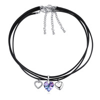 ingrosso gioielli neri di swarovski-Gioielli di moda Collane Pendenti Vintage Cuore di cristallo da Swarovski Alta qualità 3 Collana catena corda nera