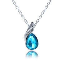 Wholesale tear drop jewelry - Water Drop Pendant Necklace Rhinestone Leaf Tear Drop Necklace Women Ladys Wedding Prom Party Necklaces Fashion Jewelry Gifts