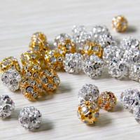 kristal döşeli boncuklar toptan satış-100 adet / grup Alaşım Kristal Boncuk 8mm / 10mm Altın / Gümüş Yuvarlak Açacağı Disko Topu Boncuk Rhinestone Kristal Spacer Boncuk DIY Takı Bulguları için