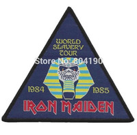 "Wholesale Band Motorhead - 4.3"" Iron Maiden World Slavery Tour 1984 1985 Woven iron on Patch Judas Priest Metallica ACDC Motorhead NWOBHM Tank band"