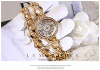 Wholesale Double Diamond Watches - Luxury Lady Wristwatch Diamonds Sliver Gold Rose Jewelry Party Dress watch Double Band Free shipping Good quality Quartz Party Quartz