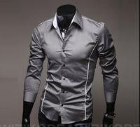 Wholesale Single Cut - Fashion men fashion high quality casual shirt Slim cut personalized trim men's casual long sleeved shirt