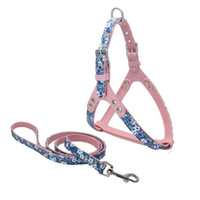 Wholesale Leather Dog Leashes Harnesses - Fashion dogs cats floral harness leash set adjustale pet leather harness lead suit with zinc alloy accessories WA1896