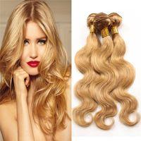 Wholesale Human Hair Blonde 27 - 8A Grade Honey Blonde Virgin Brazilian Hair 3 Bundles Color #27 Pure Strawberry Blonde Body Wave Human Hair Weaves 3Pcs Lot