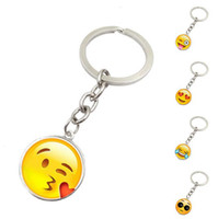 Wholesale Glass Gemstone Earrings - High quality Emoji face smiling face gemstone key chain Metal Glass Pendant for women Car Keyring Bag Earrings Accessories