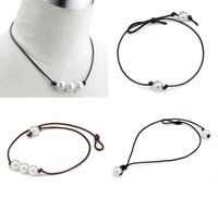 Wholesale Pearl Knotted Necklace Wholesalers - Brand New Simple and Elegant Women's Hand Knotted High Luster Pearls Leather Punk Style Choker Necklaces