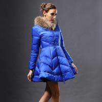 Wholesale Coats Skirt Fur Collars - Fashion Clothe Winter Woman Real Raccoon Rur Collar Duck Down Jacket Women Long Coat Blue Warm Outwear Jackets