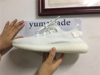 Wholesale Mens Shoes Dhl - Kanye West Boost 350 V2 CP9366 CREAM WHITE CORE WHITE Triple White Fluorescent 14Colors Mens Running Shoes DHL Shipping