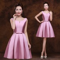 Wholesale Double V Cocktail Dress - 2017 New fashion pink double-shoulder vestido de festa v-neck plus size girl's Cocktail dress
