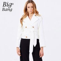 Wholesale Double Breasted Strap Trench Coat - Double Breasted Women Blazers Suit Jacket Belted Waist Trench Coats 2017 Spring Tied Strap Short Design Trench Coat M16122110