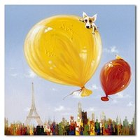 Wholesale Paris Painting Canvas - Framed BIG Canvas Balloons Dog Paris Picture,100% Handcraft Animal art oil painting on Quality canvas,Multi sizes,Free Shipping A043