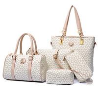 Wholesale messenger pieces - Wholesale- Wholesale 2016 women fashion high-grade leather shoulder bag handbags women messenger bags print purses 5 pieces sets bolsas