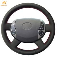 rueda para toyota al por mayor-MEWANT Envoltura de la cubierta del volante del automóvil de cuero artificial negro para Toyota Prius 2005 2006 2007 2008