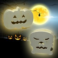 Calabaza Linterna Halloween Holiday Decoraciones Lámparas Skull Head Forma luces Manual Madera 3D Hollow High Brightness