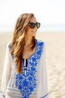 Wholesale Bohemian Swimsuit Top - 2017 European American beach skirt cotton embroidered bikini top of bikini top holiday suit dress swimsuit to wear suntan dress