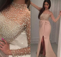 Wholesale Islamic Art Pictures - Evening Dresses 2017 Arabic Islamic High Neck Long Sleeves Crystal Pearls Mermaid Front Split Long Formal Dubai Abaya Party Dress Prom Gowns