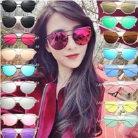 Wholesale Coloured Fashion Glasses - fashion Bright and reflect luxury sunglasses sunglasses for women Round glasses large frame Travel 14 selection of colour