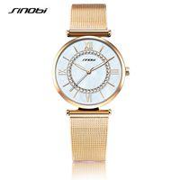 Wholesale Unique Watches For Ladies - Sinobi Luxury Gold Watches Women Fashion Casual Quartz Wristwatch For Ladies Woman Unique Design For Female Gifts