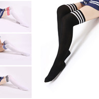 Gym Women Cotton College winds sexy cotton socks women stripes knees girl lady socks three bars knees high tube student socks High Hot Cotton Thigh