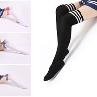 Wholesale Tube Socks Hot - College winds sexy cotton socks women stripes knees girl lady socks three bars knees high tube student socks High Hot Cotton Thigh
