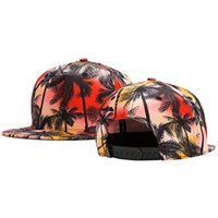 Wholesale Trees Snapback - 2017 Summer Unisex Coconut Trees Printing Baseball Cap Flat Brim Hip Hop Caps Snapback Hats For Men And Women