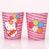 basılı parti bardakları toptan satış-Toptan-10 adet Hello Kitty tema baskı kağıt bardak çocuklar için doğum günü partisi içme bardak parti dekorasyon sofra