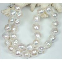 HUGE NATUREL 11-10 MM Australien mer du sud perle blanche collier 18