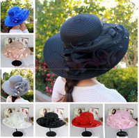 Wholesale Organza Brim Hats For Women - New womens Kentucky Derby Wedding Church Party Floral Hat elegant wide brim sun summer hats Organza Hats for women 7 colors top quality