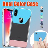 Dual Color Soft TPU Hard PC Ultra fino Slim Transparente Crystal Clear Back Case para iPhone X 8 7 Plus 6 6S Samsung S8 S7 Edge Note 8