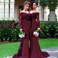 Wholesale Satin Sweetheart Wedding Gown - Burgundy Mermaid Bridesmaids Dresses 2017 Elegant Long Sleeve Maid Of Honor Gowns Appliqued Satin Wedding Party Dress