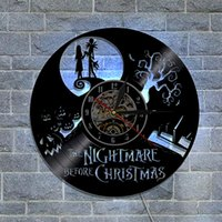 Nightmare Before Christmas Gifts Home Decor Design moderno Wall Art Decal Sticker Nero fai da te 3D Night Night Quartz Orologio da parete in vinile da record