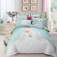 Wholesale Digital Printed Cotton Fabric - digital printing hometextile bed sheet bed linen four pieces bedding set 100% cotton fabric,thigher thread count cartoon designs green colo
