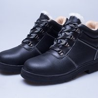 Wholesale Winter Cold Shoe - Men Top layer leather Boots Work Wool Shoes Safety Protective Shoes Cold-resistant Shock absorption Non-slip Wear-resistant Rubber sole