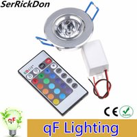 Wholesale Led Rgb Recessed Lighting - Wholesale- 3W RGB LED Ceiling Down Lights Recessed LED Downlight Red Blue Green AC85-265V Aluminum Ceiling Lamps with Driver