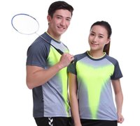 Wholesale xxl sweat shirts - New Sportswear sweat Quick Dry breathable badminton shirt , Women   Men table tennis clothes team game running Gym T Shirts