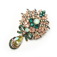 Wholesale Imported Flowers - Wholesale- new arrival big crystal water drop flower brooches for women vintage fashion brooch and pin imported rhinestone gold plated gift