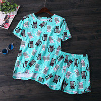 Wholesale Cute Women Pajama - New Summer short sleeves shorts pijamas women Cute cartoon Simple 100% cotton women pajama sets sleepwear for ladies loungewear