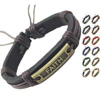bracelet chaîne en cuir noir achat en gros de-FAITH Véritable Bracelet En Cuir Réglable Noir Marron Chaîne En Gros Lots De Mode Surfer Unisexe Hommes Femmes Main Bracelet Bracelets (DJ373)