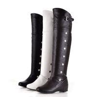 düz diz önyükleme siyahı toptan satış-Artı Boyutu Ayakkabı Kadın Çizmeler Avrupa Tarzı Over-the-diz Çizmeler Siyah Yükseklik Artan Flats Deri Ayakkabı Su Geçirmez