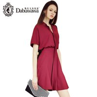 Wholesale Dabuwawa Short Sleeve Elastic Waist Dress For Women A Line Dress With Pocket Female Summer Office Dresses