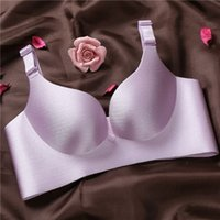 Wholesale Hook Up Wire Silver - Drawing no mark no rims bra breathable small chest thick gather thin adjusting bra sexy lingerie