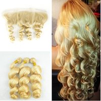 Wholesale Loose Wavy Russian Hair - #613 Blonde Lace Frontal With Bundles 613 Free Middle Three Part 13x4 Frontal Closure With Russian Loose Wave Wavy Virgin Human Hair Weaves