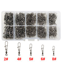 Wholesale Swivel Nice Snap - 210pcs Rolling Fishing Swivel With Nice Snap Brass With Black Nickle Rolling Swivels Hard Fishing Lures Connector Set With Box