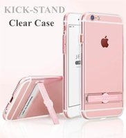 Wholesale Apple Integrated - Clear Case with Kickstand for iphone 7 7Plus 6 6s 6Plus 6sPlus Soft Transparent Hybrid CellPhone Case Integrated Metal Kickstand Design