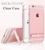 Wholesale Design Cellphone Cases - Clear Case with Kickstand for iphone 7 7Plus 6 6s 6Plus 6sPlus Soft Transparent Hybrid CellPhone Case Integrated Metal Kickstand Design